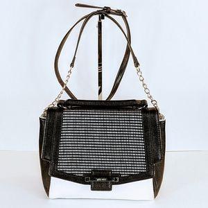 Nine West Black & White Chain Detail Crossbody Bag